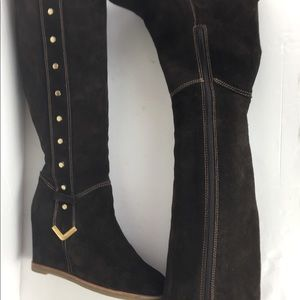 Napoleoni Made in Italy Tall Brown Suede Zip Boots